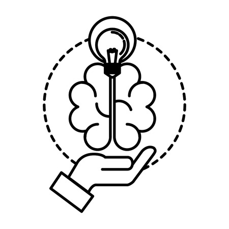 hand lifting bulb light and brain vector illustration design