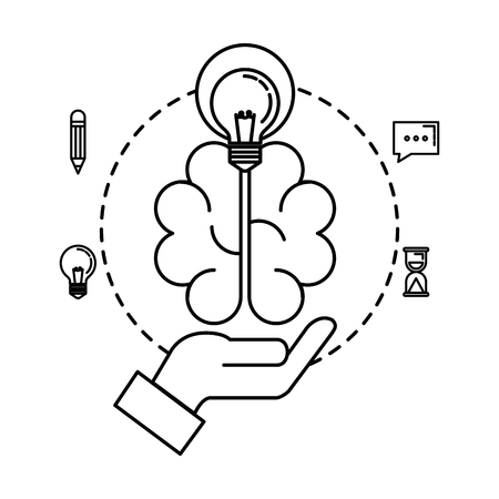 hand lifting bulb light and brain with business icons vector illustration design