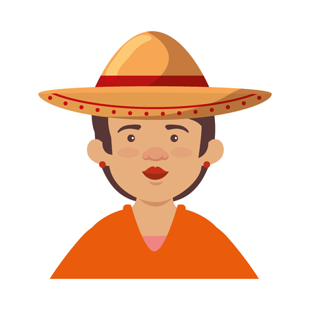 traditional mexican woman with hat vector illustration design 写真素材 - 125818878