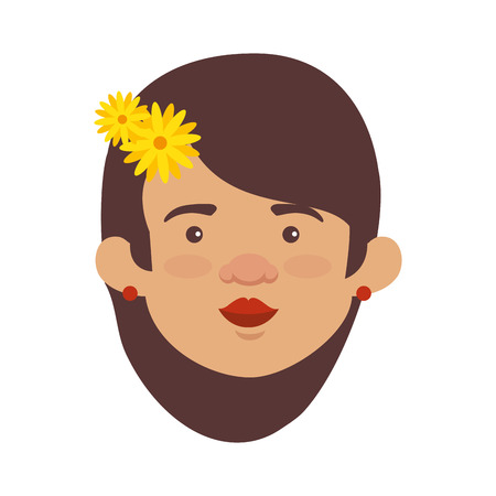 traditional mexican woman head with hair flower vector illustration design  イラスト・ベクター素材