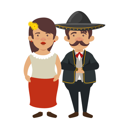 traditional mexican woman with mariachi characters vector illustration design Illustration