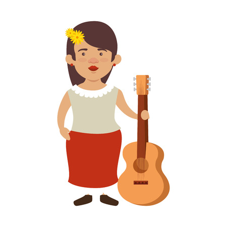 traditional mexican woman with hair flower and guitar vector illustration 写真素材 - 116016364