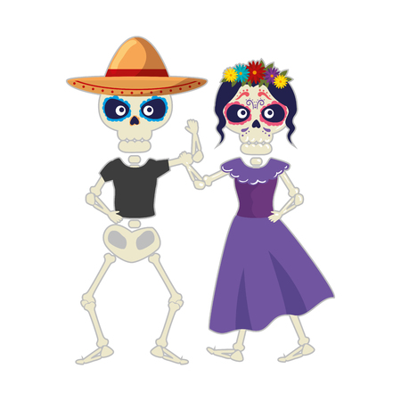 skeleton of katrina and mariachi characters vector illustration design
