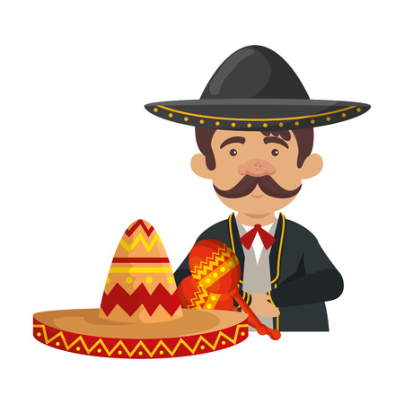 traditional mexican mariachi with maracas vector illustration design