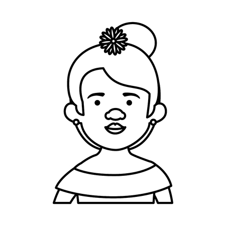 traditional mexican woman with hair flower vector illustration design