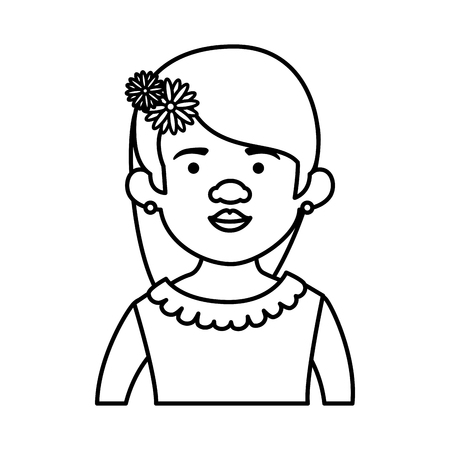 traditional mexican woman with hair flower vector illustration design  イラスト・ベクター素材