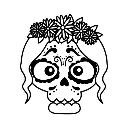 skeleton of katrina head character vector illustration design Standard-Bild - 125818924
