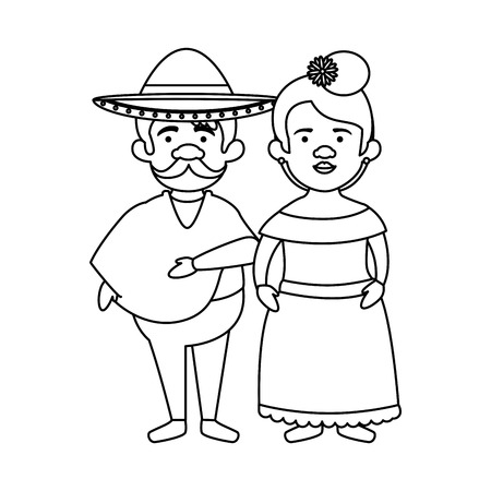 traditional mexican couple characters vector illustration design