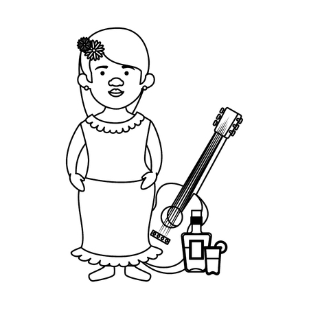 traditional mexican woman with hair flower and guitar vector illustration