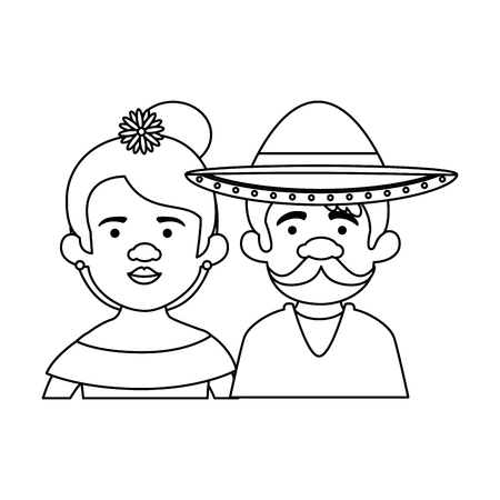 traditional mexican couple characters vector illustration design 写真素材 - 116016491