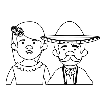 traditional mexican woman with mariachi characters vector illustration design Foto de archivo - 125818942