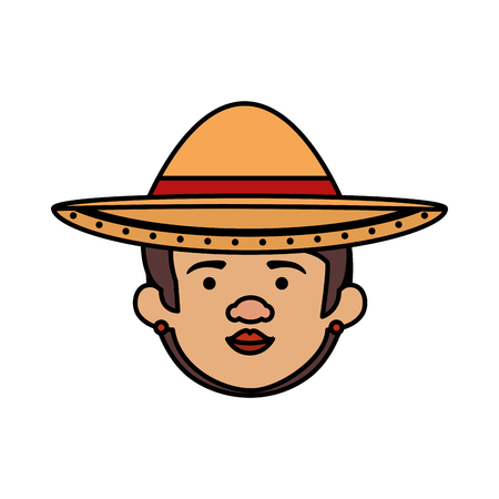traditional mexican woman head with hat vector illustration design