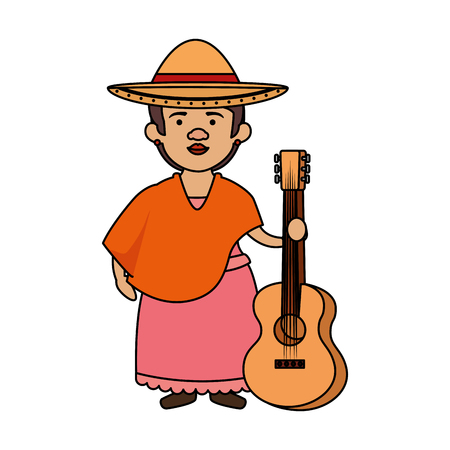 traditional mexican woman with hat vector illustration design