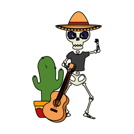 skeleton mexican with hat and guitar vector illustration design