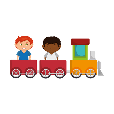little boys with train toy vector illustration design