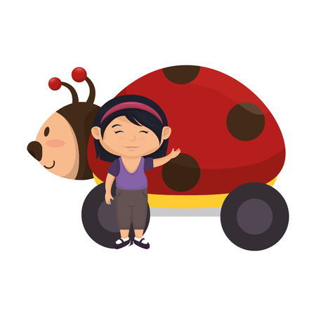 little girl with ladybug toy vector illustration design Illustration