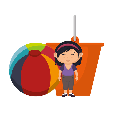 little girl with sand bucket and balloon vector illustration design Illustration