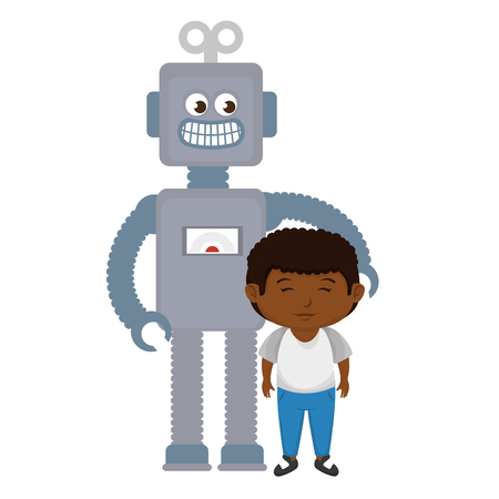little boy with robot toy vector illustration design Archivio Fotografico - 116011960