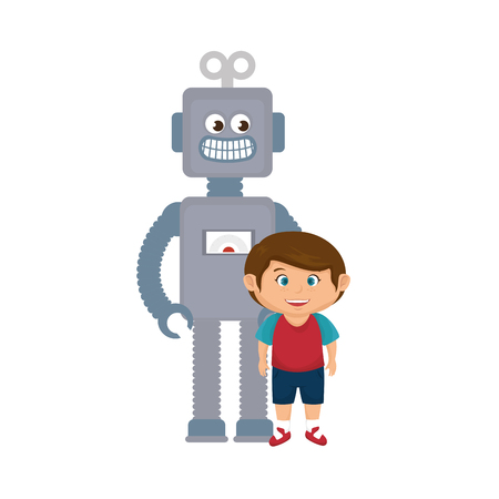 little boy with robot toy vector illustration design