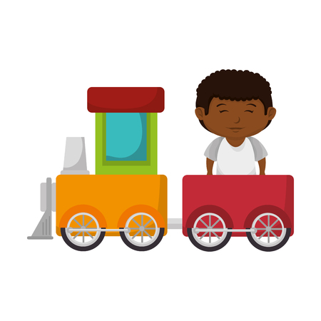 little boy with train toy vector illustration design