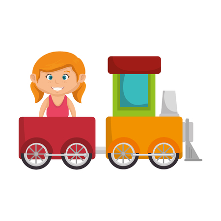 little girl with train vector illustration design
