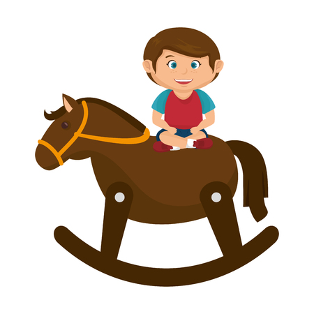 little boy with wooden horse toy vector illustration design Illustration