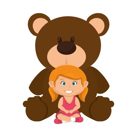 little girl with bear teddy vector illustration design