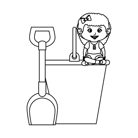 little girl with sand bucket vector illustration design