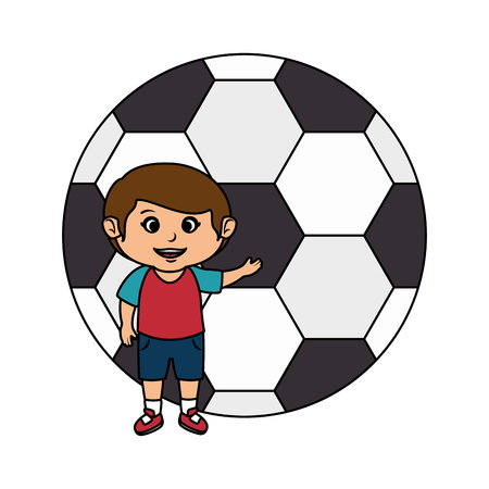 little boy with soccer balloon vector illustration design