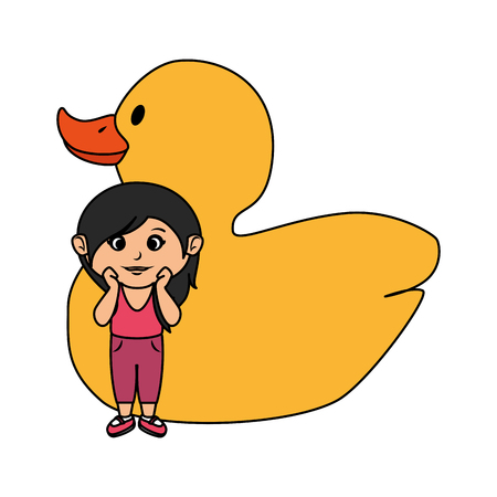 little girl with rubber ducky toy vector illustration design Illustration