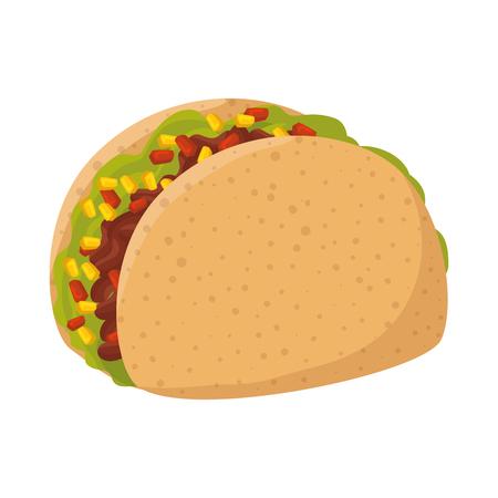 Delicioso taco de comida mexicana, diseño de ilustraciones vectoriales Ilustración de vector