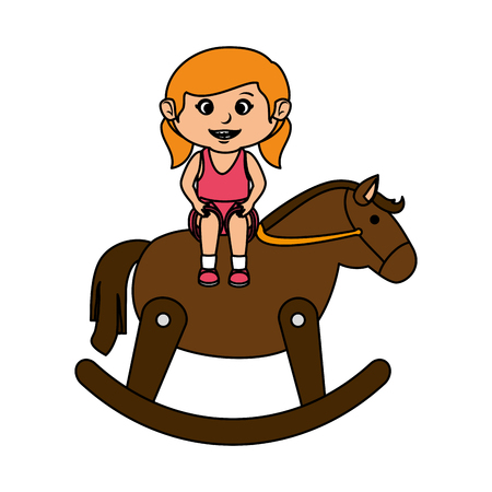little girl with wooden horse vector illustration design