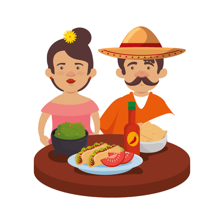 mexicans couple with delicious food vector illustration design
