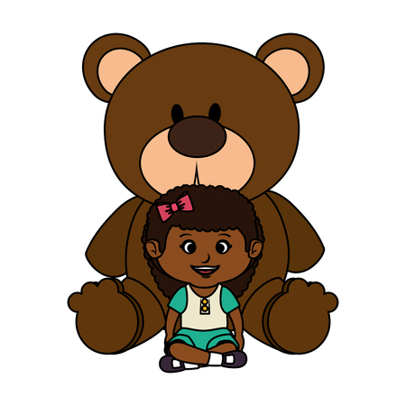 little girl with bear teddy vector illustration design