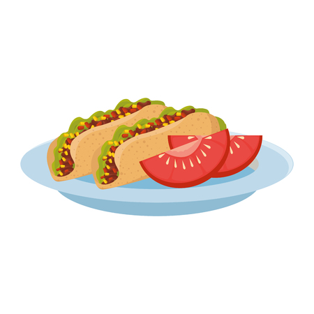 delicious burritos and tomato mexican food vector illustration design