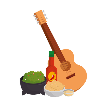 delicious mexican food and guitar vector illustration design