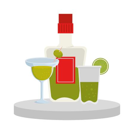 tequila bottle and margarita cocktail vector illustration design
