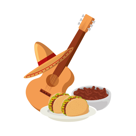 delicious tacos and guitar mexican food vector illustration design 일러스트