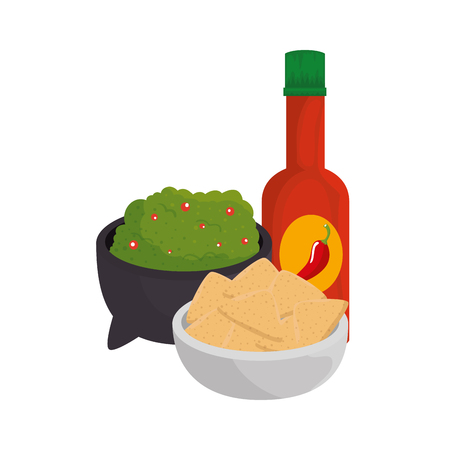 guacamole sauce with nachos and hot sauce vector illustration design Illustration