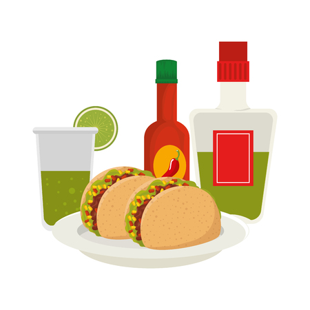 delicious taco and tequila mexican food vector illustration design