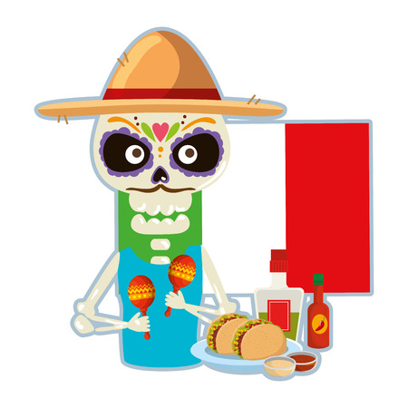 death skull with delicious mexican food vector illustration design Illustration