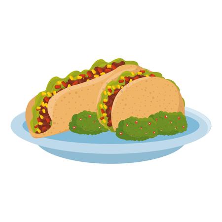 delicious burrito with guacamole mexican food vector illustration design