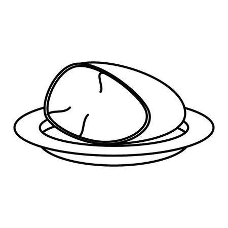 dish with ham piece vector illustration design