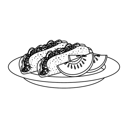 delicious burritos and tomato mexican food vector illustration design