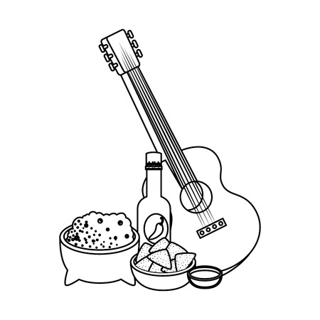 delicious mexican food and guitar vector illustration design Stok Fotoğraf - 116196596