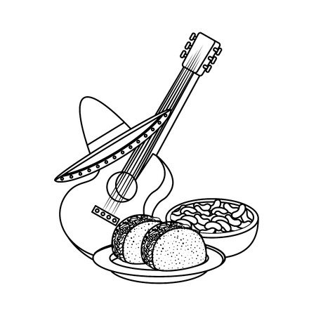 delicious tacos with guitar and hat mexican food vector illustration design