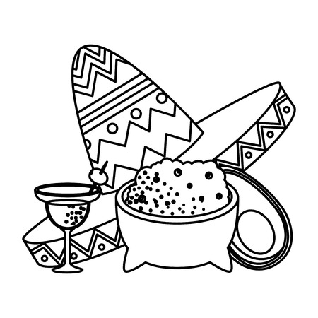 guacamole with mexican hat and margarita vector illustration design 向量圖像