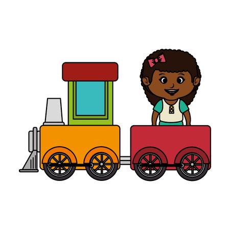 little girl with train vector illustration design