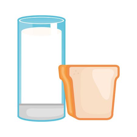delicious milk glass cup with bread vector illustration design