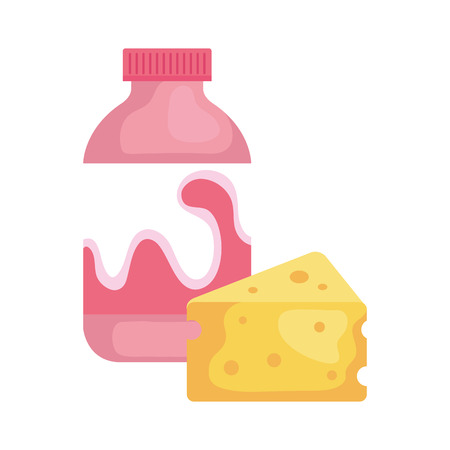delicious bottle yogurt with cheese portion vector illustration design